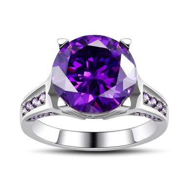 Round Cut Amethyst Gemstone 925 Sterling Silver Engagement Ring