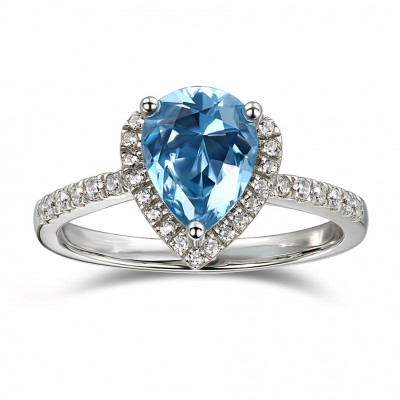 Pear Cut Aquamarine 925 Sterling Silver Halo Engagement Rings