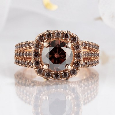 3.25CT Round Cut Chocolate 925 Sterling Silver Rose Gold Halo Engagement Rings