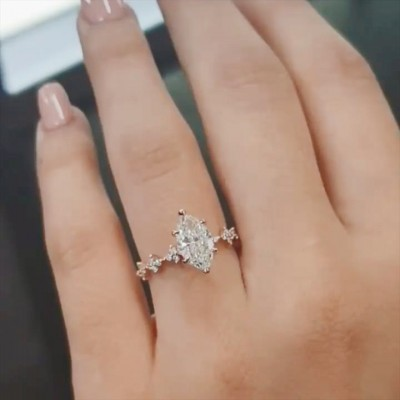 Marquise Cut White Sapphire 925 Sterling Silver Rose Gold Engagement Rings