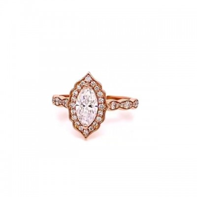 Oval Cut White Sapphire Rose Gold 925 Sterling Silver Halo Engagement Rings