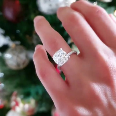 Cushion Cut White Sapphire 925 Sterling Silver Classic Engagement Rings