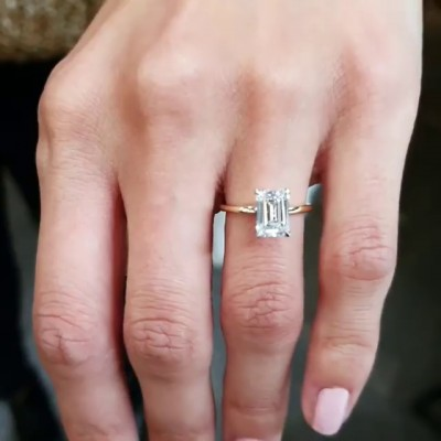 Emerald Cut White Sapphire 925 Sterling Silver Classical Gold Engagement Rings