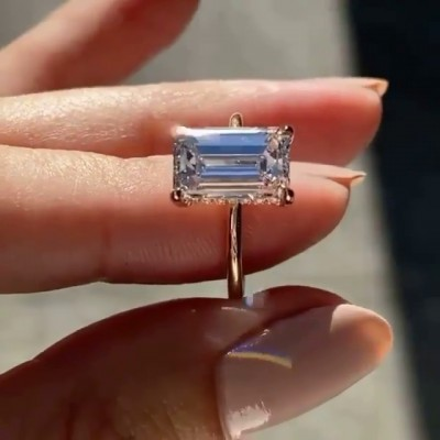 Emerald Cut White Sapphire 925 Sterling Silver Rose Gold Engagement Rings
