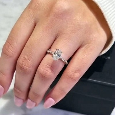 Oval Cut White Sapphire 925 Sterling Silver Classic Rose Gold Engagement Rings