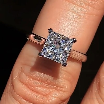 Princess Cut White Sapphire 925 Sterling Silver Classic Engagement Rings
