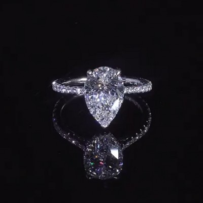Pear Cut White Sapphire 925 Sterling Silver Halo Engagement Rings