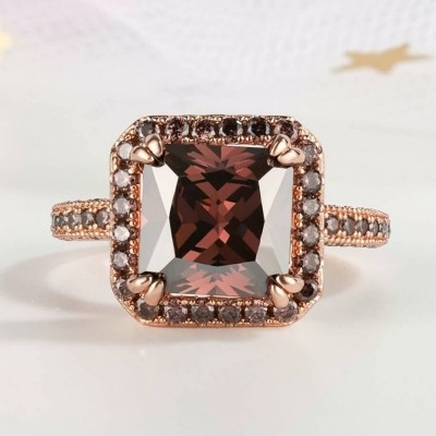 4.51CT Princess Cut Chocolate 925 Sterling Silver Rose Gold Halo Engagement Rings