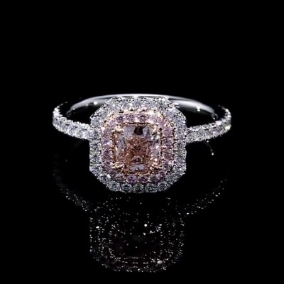 Asscher Cut Pink Sapphire 925 Sterling Silver Halo Engagement Rings