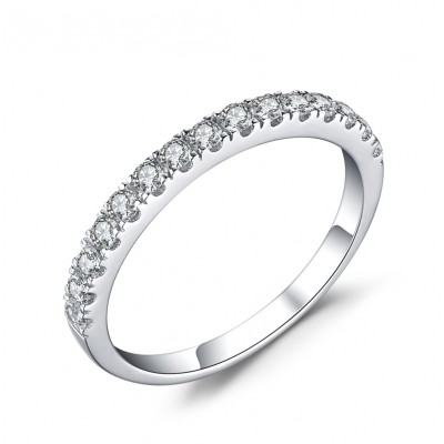 Simple Round Cut White Sapphire 925 Sterling Silver Women's Engagement Ring