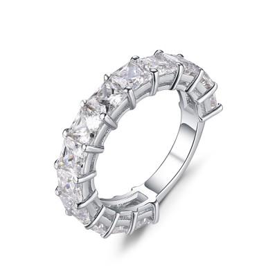 Princess Cut White Sapphire 925 Sterling Silver Women's Wedding Bands