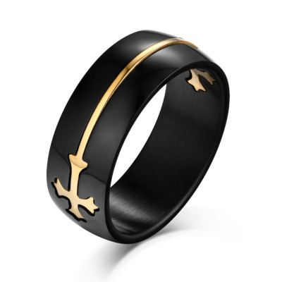 Gold Cross Design Black Titanium Steel Men's Ring