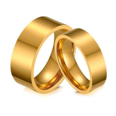Gold Titanium Steel Promise Rings for Couples