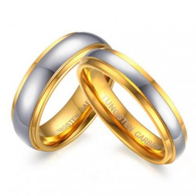 Titanium Steel Gold & Silver Promise Rings for Couples