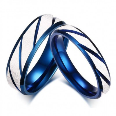 Blue & Silver Titanium Steel Promise Rings for Couples