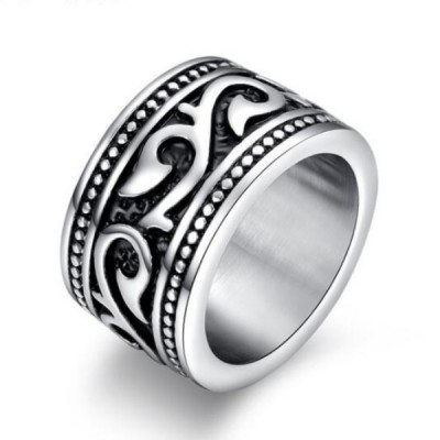 Titanium Black & Silver Unique Men's Ring