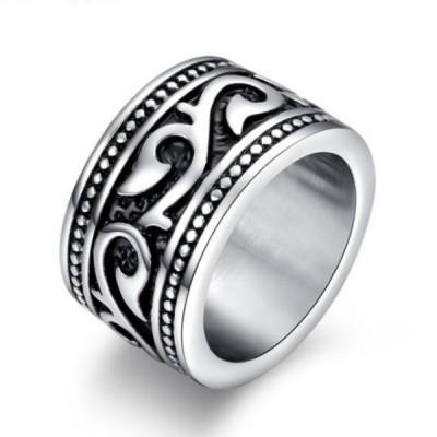 Titanium Black & Silver Unique Men's Ring