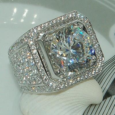 Big Round Cut White Sapphire Halo Rings