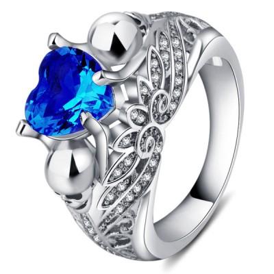Heart Cut Blue Sapphire Women's Skull Ring