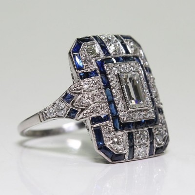 Antique Art Deco Blue and White Sapphire Women's Ring