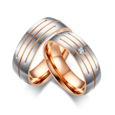 Silver & Rose Gold Titanium Couple Rings