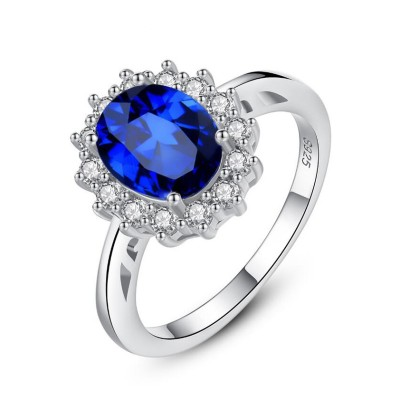 Oval Cut Blue Sapphire 925 Sterling Silver Promise Ring