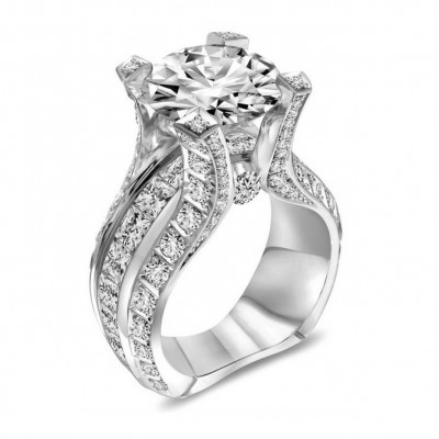 Round Cut White Sapphire Promise Ring