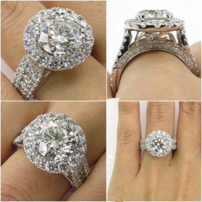 Round Cut White Sapphire Halo Engagement Rings