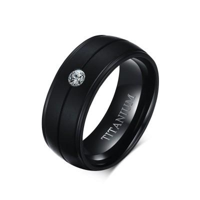 Black Round Cut White Sapphire Titanium Men's Band