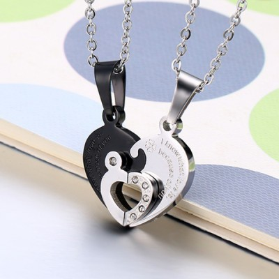 Heart Design Black and Silver 925 Sterling Silver Necklace