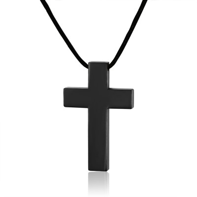 Pure Black Cross 925 Sterling Silver Necklace