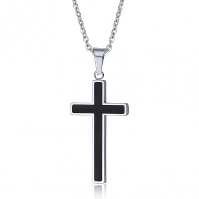 Black Cross 925 Sterling Silver Necklace