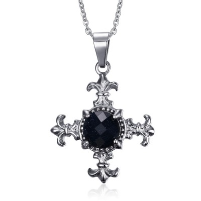 Cool 925 Sterling Silver With Black Gemstone Necklace