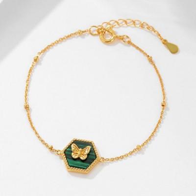 Butterfly 925 Sterling Silver Malachite 18K Gold Plated Bracelet