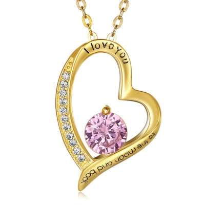 Round Cut Gold/Silver Pink/Aquamarine Sapphire S925 Silver Necklaces