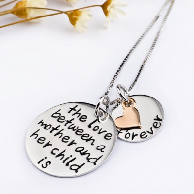 Mother & Child Heart 925 Sterling Silver Rose Gold Necklace