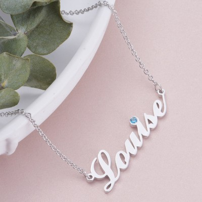 925 Sterling Silver Personalized Birthstone Name Necklace