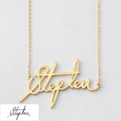925 Sterling Silver Gold Personalized Signature Name Necklace