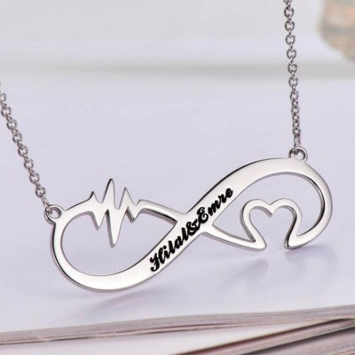 925 Sterling Silver Infinity Love Engraved Necklace