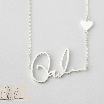 925 Sterling Silver Heart Signature Name Necklace
