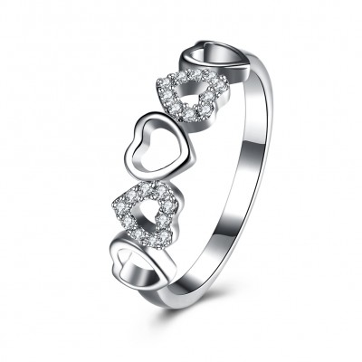 Round Cut White Sapphire Heart S925 Silver Bands