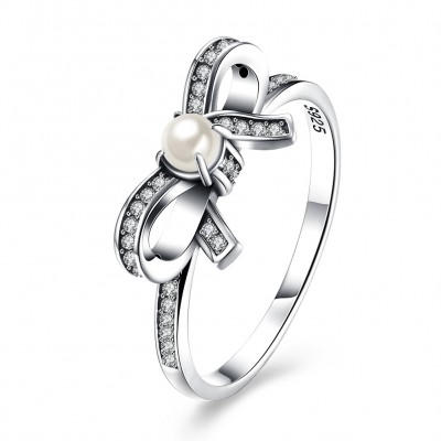 Pearl Round Cut White Sapphire Bowknot S925 Silver Rings