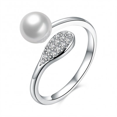 Round Cut White Sapphire Pearl S925 Silver Promise Rings