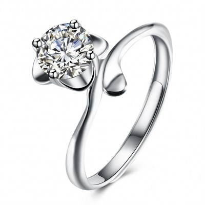 Shining Round Cut White Sapphire S925 Silver Engagement Rings