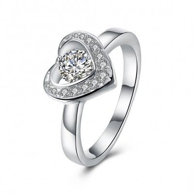 Round Cut White Sapphire S925 Silver Nice Promise Rings