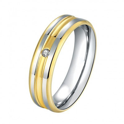 Round Cut White Sapphire Gold & Silver Titanium Promise Wedding Bands