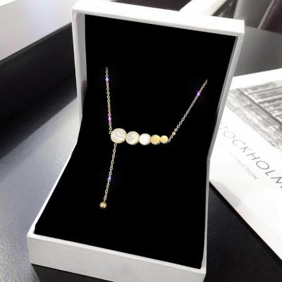 Titanium Gold Disc Pendant Necklace