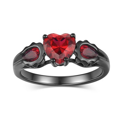 Black Heart Cut 925 Sterling Silver Women's Ring