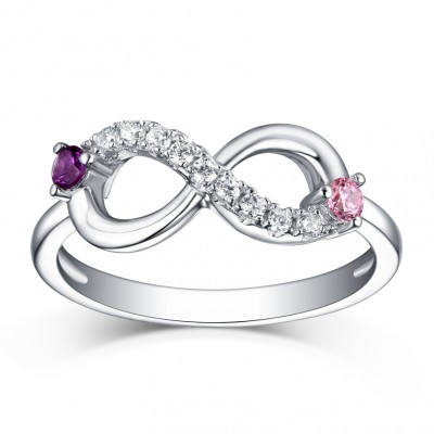 Round Cut Pink & Amethyst White Sapphire S925 Silver Infinity Rings