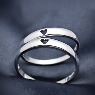 Heart to Heart 925 Sterling Silver Couple Rings